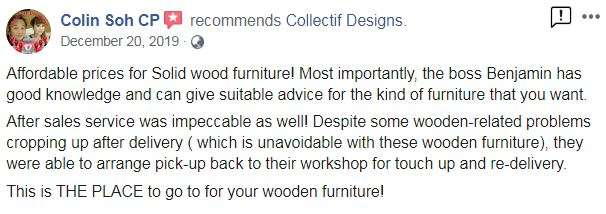 5 star review on Collectif Designs Suar wood furniture, Teak wood furniture and other solid wood furniture by client in Singapore