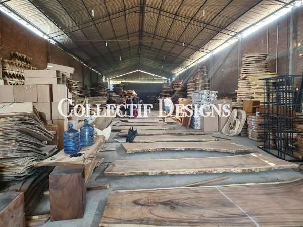 Suar wood, Teak wood, Mahogany wood, Tamarind wood and other solid wood material kept in Collectif Designs warehouse