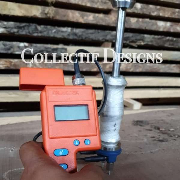 Collectif Designs measuring Suar wood slab moisture content