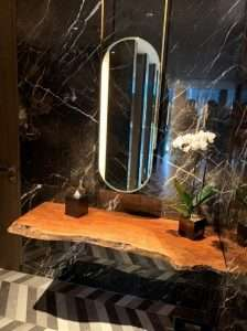 Lychee wood countertop by Collectif Designs for hotel project in Singapore
