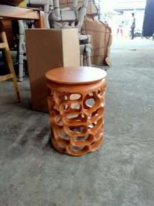 Mahogany wood stool by Collectif Designs delivered to client in Singapore