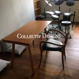 Mahogany wood writing table by Collectif Designs delivered to client in Singapore