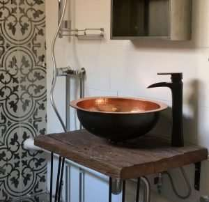 Recycled iron wood countertop by Collectif Designs