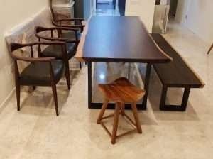 Sono wood table and Sono wood bench by Collectif Designs delivered to client in Singapore