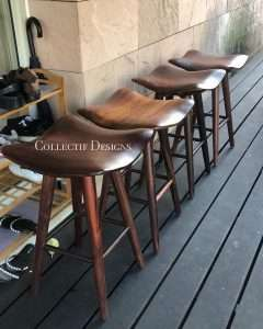 Sono wood stool by Collectif Designs delivered to client in Singapore