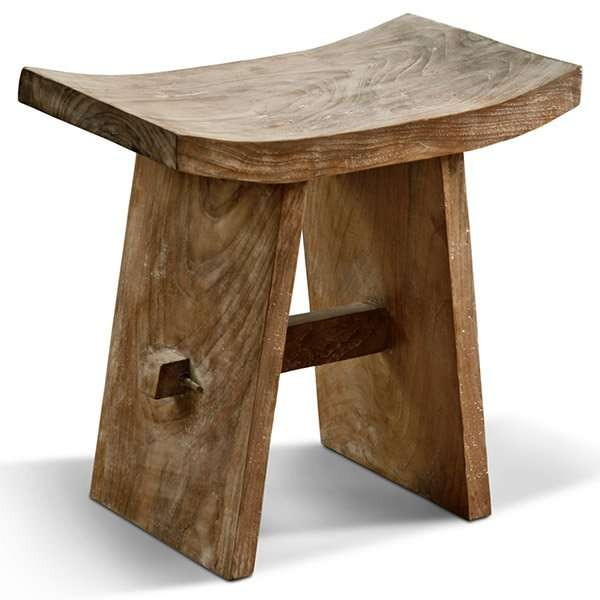 Teak wood stool by Collectif Designs
