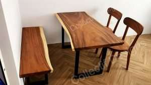 Suar wood table, Suar wood bench and Suar wood chairs by Collectif Designs delivered to client in Singapore
