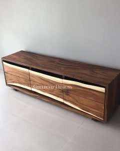 Suar wood TV console by Collectif Designs delivered to client in Singapore