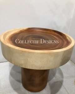 Suar wood side table by Collectif Designs delivered to client in Singapore