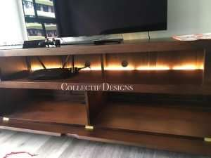 Teak wood TV console by Collectif Designs delivered to client in Singapore