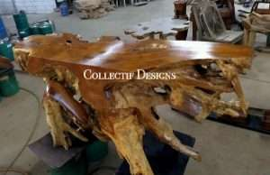 Teak wood console table by Collectif Designs delivered to client in Singapore