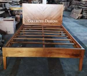 Teak wood bed by Collectif Designs delivered to client in Singapore