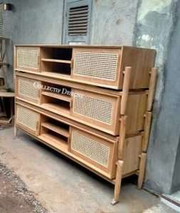 Teak wood rattan TV console by Collectif Designs delivered to client in Singapore