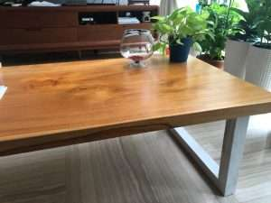 Teak wood coffee table by Collectif Designs delivered to client in Singapore