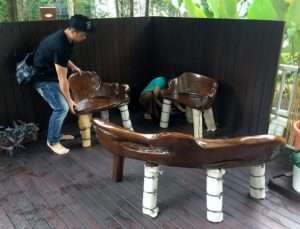 Teak wood table and Teak wood bench by Collectif Designs delivered to client in Singapore