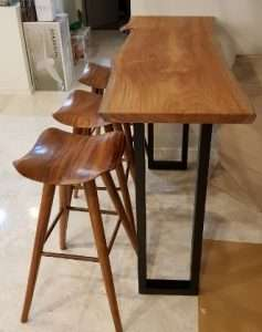 Teak wood table and Teak wood barstool by Collectif Designs delivered to client in Singapore