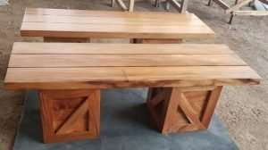 Teak wood bench by Collectif Designs delivered to client in Singapore