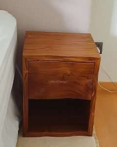 Teak wood bedside table by Collectif Designs delivered to client in Singapore