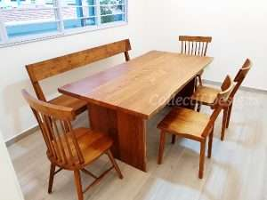 Teak wood table, Teak wood bench and Teak wood chairs by Collectif Designs delivered to client in Singapore