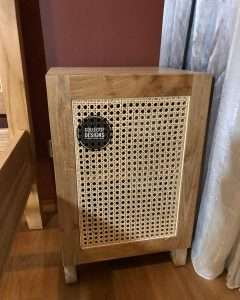 Teak wood rattan cabinet by Collectif Designs delivered to client in Singapore