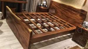 Suar wood bed by Collectif Designs delivered to client in Singapore