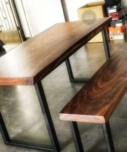 Suar wood table and Suar wood bench by Collectif Designs delivered to client in Singapore