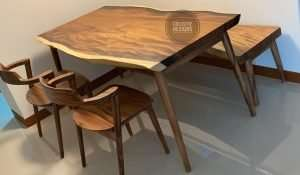 Suar wood table and Suar wood chair by Collectif Designs