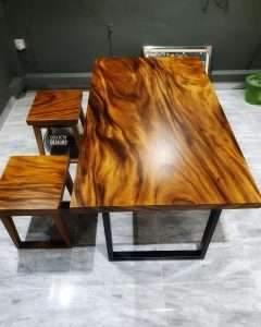 Suar wood table and Suar wood bench by Collectif Designs delivered to client by Collectif Designs
